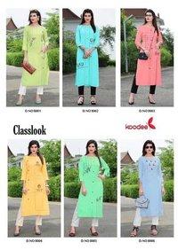 Classlook Koodee Rayon Linen Katha Work Kurti