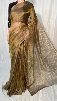 PURE TISSUE TUSSAR SILK HAND BLOCK PRINTED SAREE.