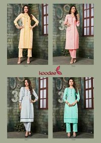 Colorbar Koodee South Cotton Strip Kurtis Catalog