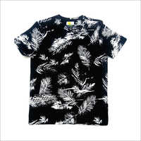 Mens Leaf Printed Cotton Jersey T-Shirt