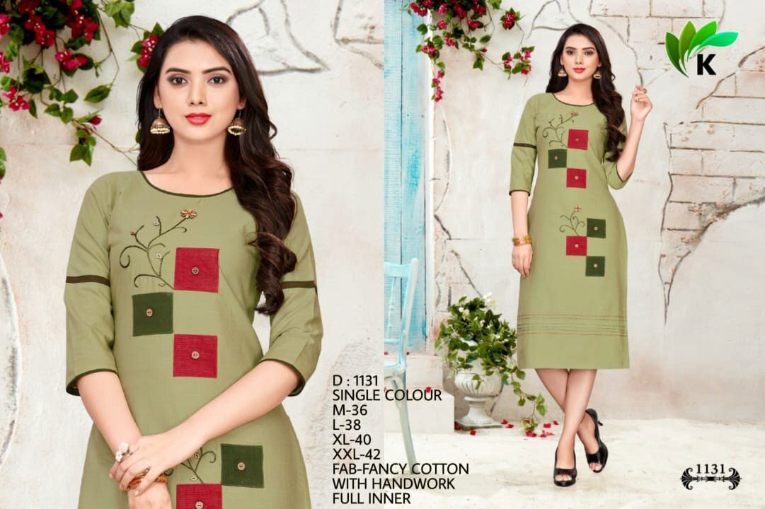 Cotton Silk Handwork Single Design 3 Size Kurti