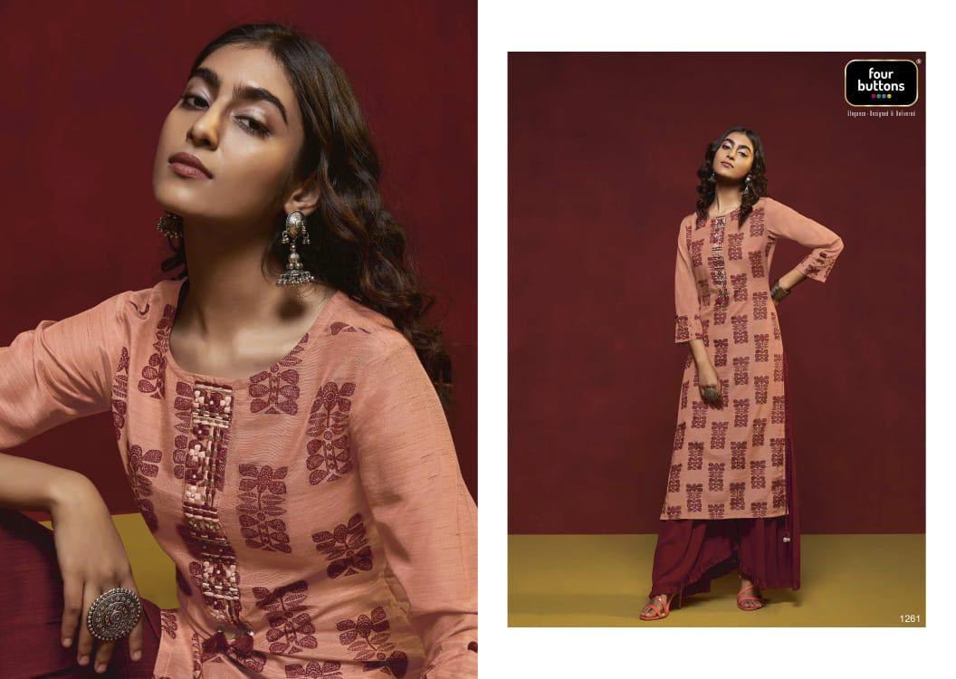 Crimson Four Buttons Viscose Sharara Kurti Suppliers