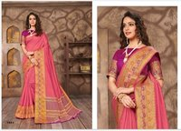 Pink Cotton Jari Saree