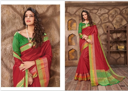 Maroon Cotton Jari Saree