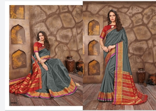 Grey Cotton Jari Saree