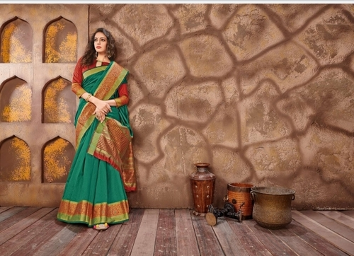 Green Cotton Jari Saree