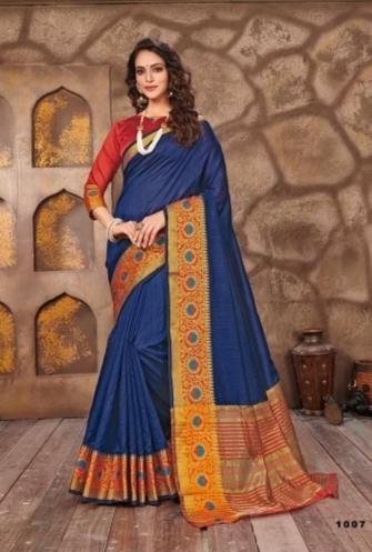 Blue Cotton Jari Saree