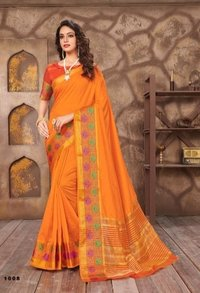 Light Orange Cotton Jari Saree