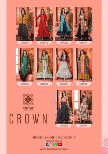 Crown Gown Type Kiana Designer Rayon Cotton Kurtas