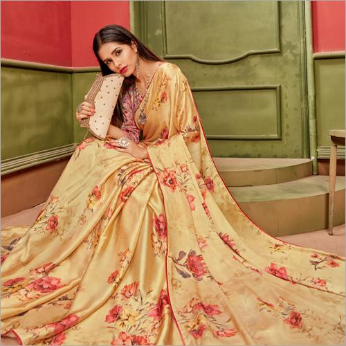 Satin Material Floral Printed Sarees