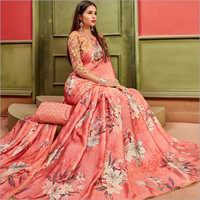Satin Material Floral Printed Pink Sarees