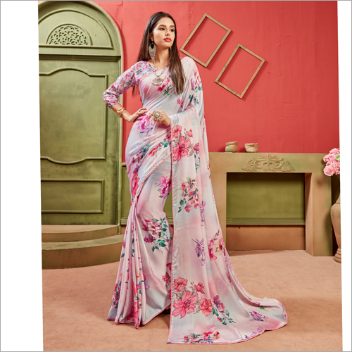 Satin Material Floral Printed Light Pink  Sarees