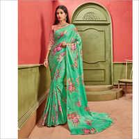Satin Material Floral Printed Green Sarees