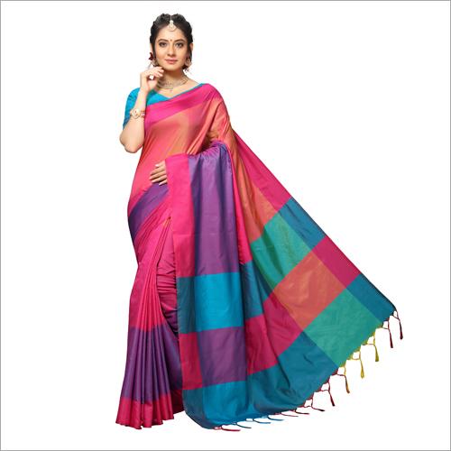 Handloom Chex Silk Weaved Printed Saree