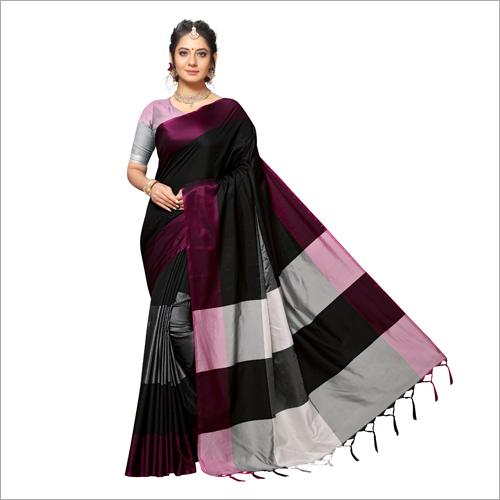 Handloom Chex Silk Weaved Black Printed Saree