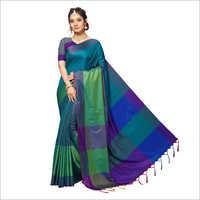 Handloom Chex Silk Weaved Multi Colour Saree