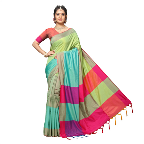 Handloom Chex Silk Weaved Saree
