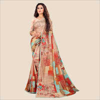 Katki Silk Digital Printed Party Wear Embellished Saree