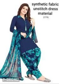 Synthetic Printed Dress Material