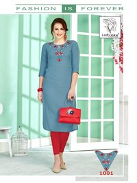 Crystal Ladyview Cotton Embroidery Kurtis Set