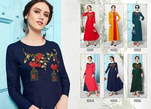 Crystal Riya Designer Rayon Embroidery Kurti