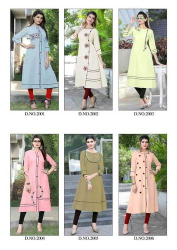 Culture Koodee Poly Rayon Handwork Wholesale Kurti