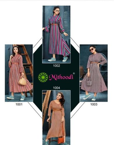 Cute Girl Mithoodi Rayon Lining Flair Wholesale Kurti