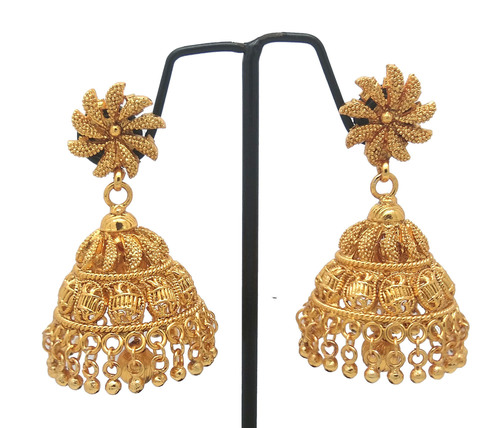 Gold plated jhumka earring