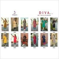 Diva Vol-8 Poonam Designer Embroidery Cotton Kurti