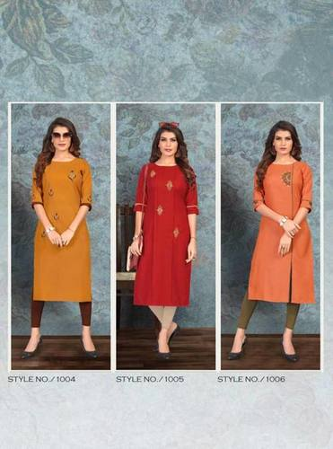 Dream Magic Slub Handwork Kurtis Catalog