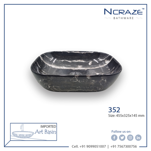 Black Marble Ceramic Wash Basin