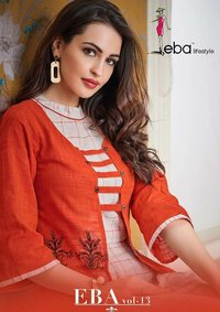 Eba Vol-13 Eba Lifestyle Cotton Embroidery Jacket Kurtis