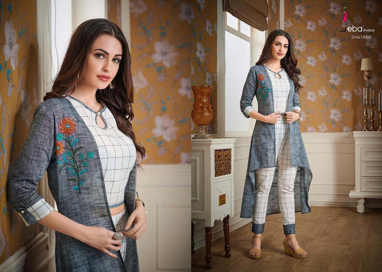 Eba Vol-13 Eba Lifestyle Cotton Embroidery Jacket Kurtis