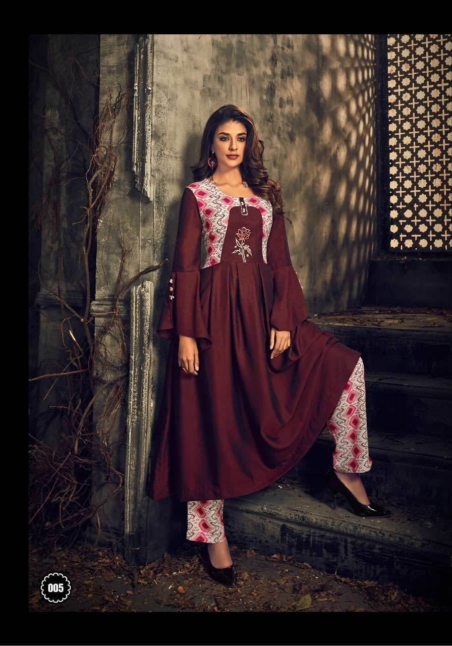 Elegance Kiana Two Tone Embroidery Interlock Kurtis