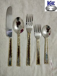 Stainless Steel and Brass Cutlery Set