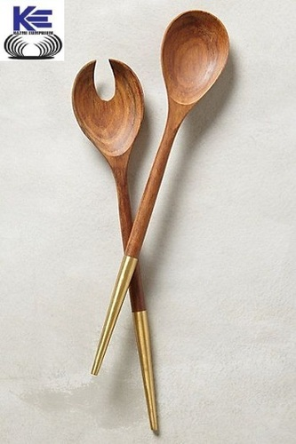 Sheesham Wood and Brass Salad Server Set