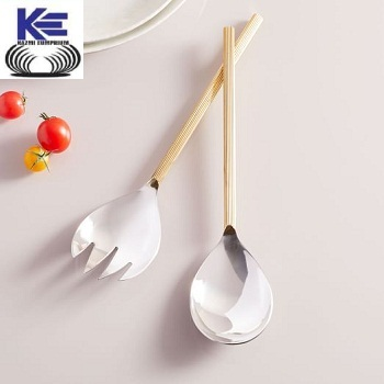 Stainless Steel and Brass handle Salad Server Set