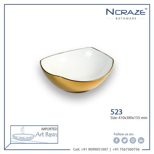Golden Color Ceramic Wash Basin