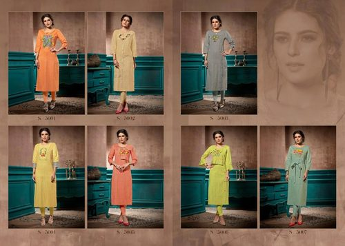 Elite Kalki Fashion Linen Pure Cotton Handwork Kurti