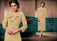 Elite Kalki Fashion Linen Pure Cotton Handwork Kurti