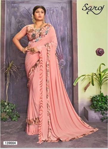 Outstanding pink Lycra Ruffel Saree