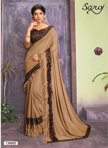 Outstanding Coffee Lycra Ruffel Saree