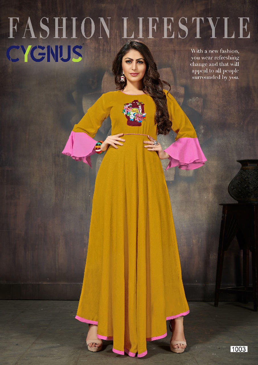 Ellora Cygnus Design Long Embroidered Kurta Set