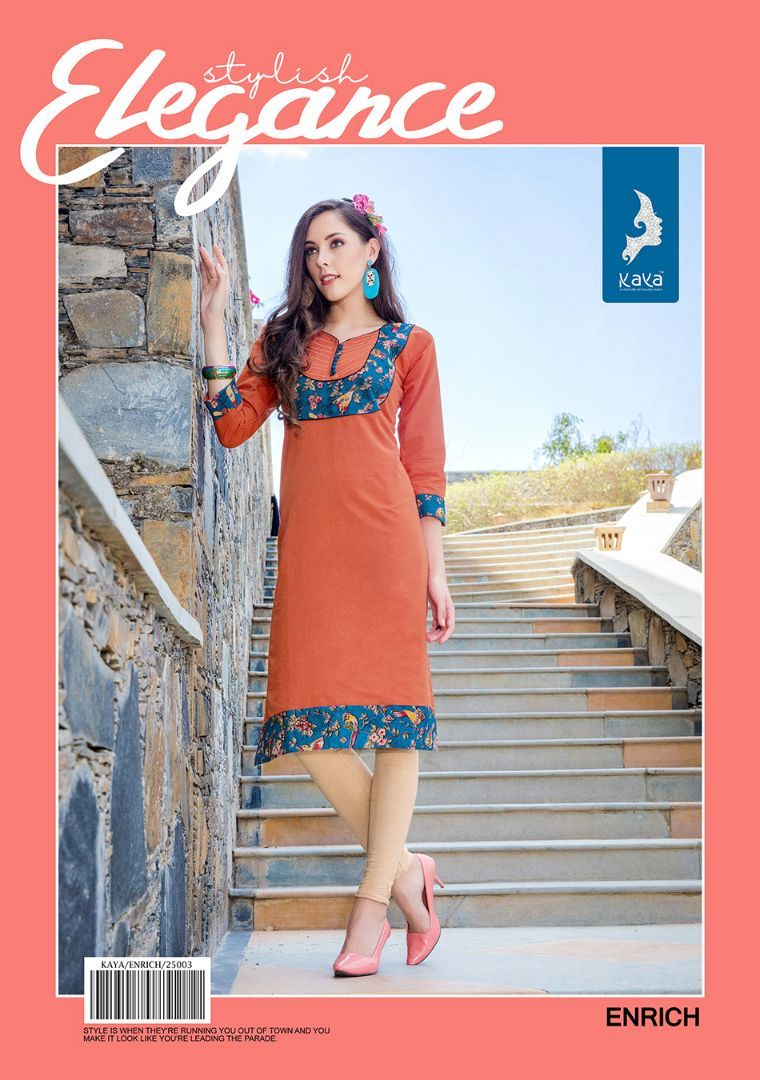 Enrich Cotton Kurtis Catalog Design by Kaya