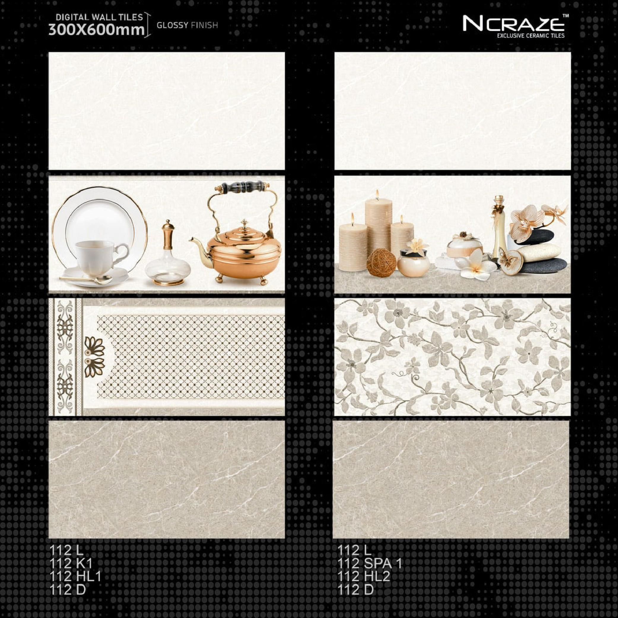 Attractive Design 300x600mm vitrified Glossy punch Ceramic Wall tiles For Farmhouse