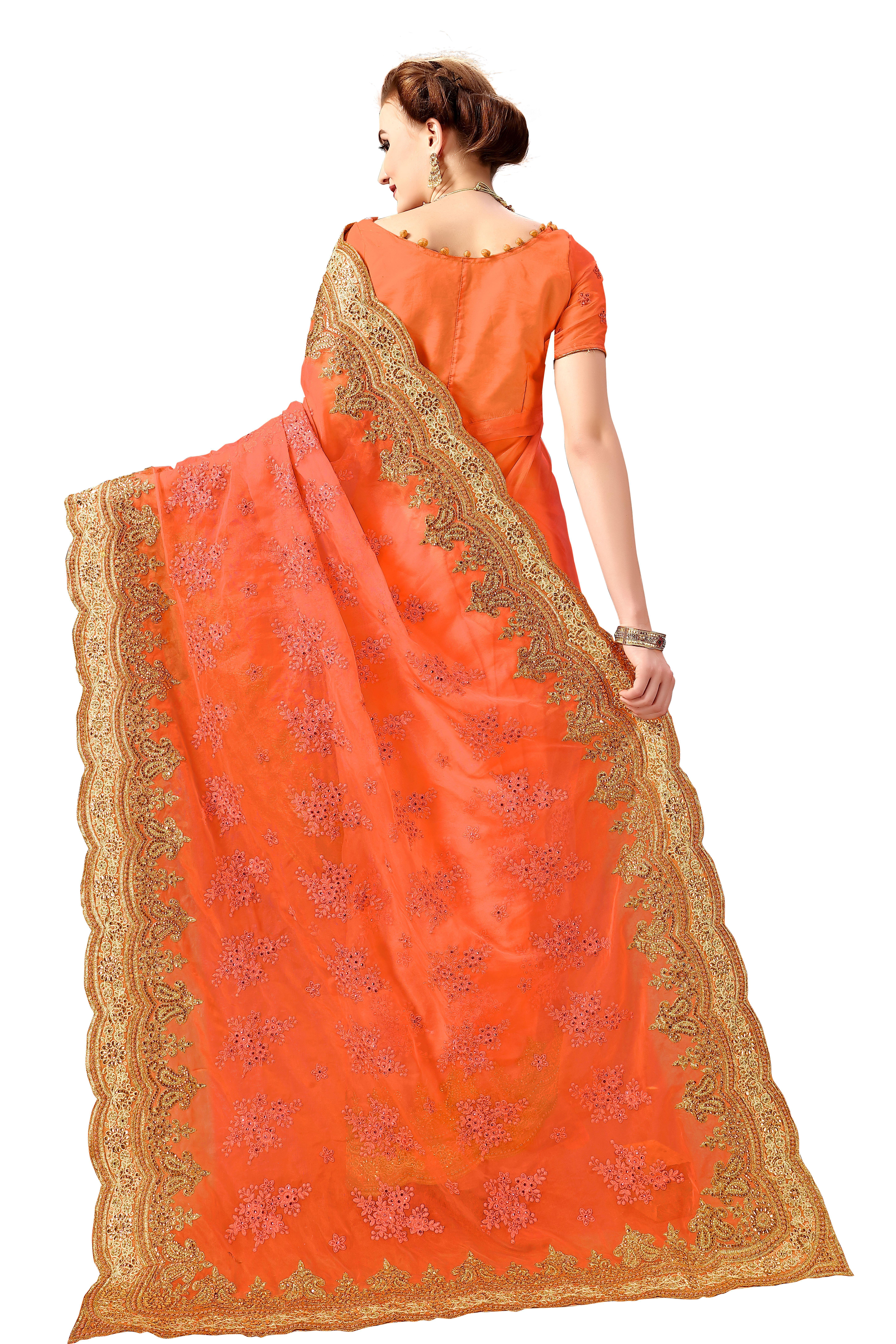 Heavy embroidered net saree in Orange