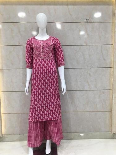 muslin Printed kurti plazzo with silver work
