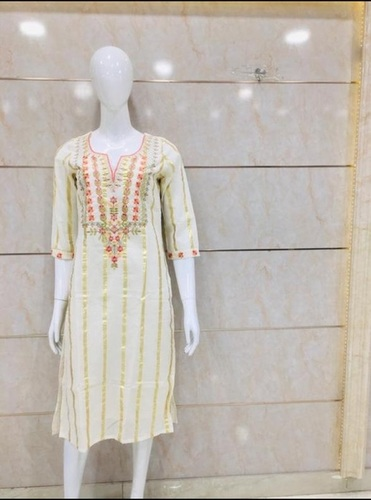 Cotton Kurti With Golden Lineing And Flower Desing