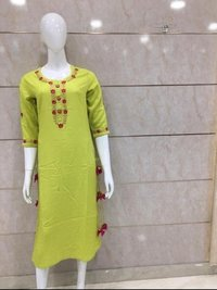 Rayon Plain Kurti Flower Design