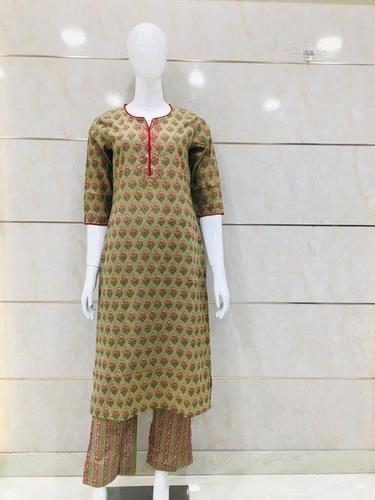 Cotton Kurti Plazzo And Printed Design